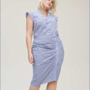 Chelsea28 Striped Ruched Plus Size Dress